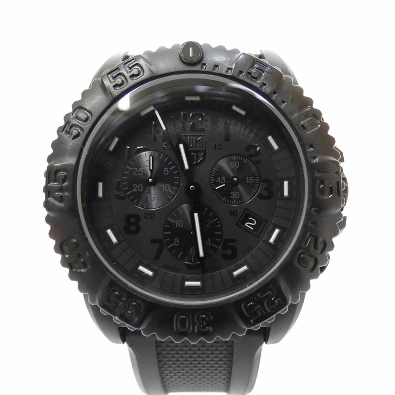 【中古】LUMINOX/ルミノックス 腕時計 ネイビーシールズ クォーツ ラバーバンド サイズ:- カラー:ブラック(文字盤)×ブラック(ベルト)【f131】