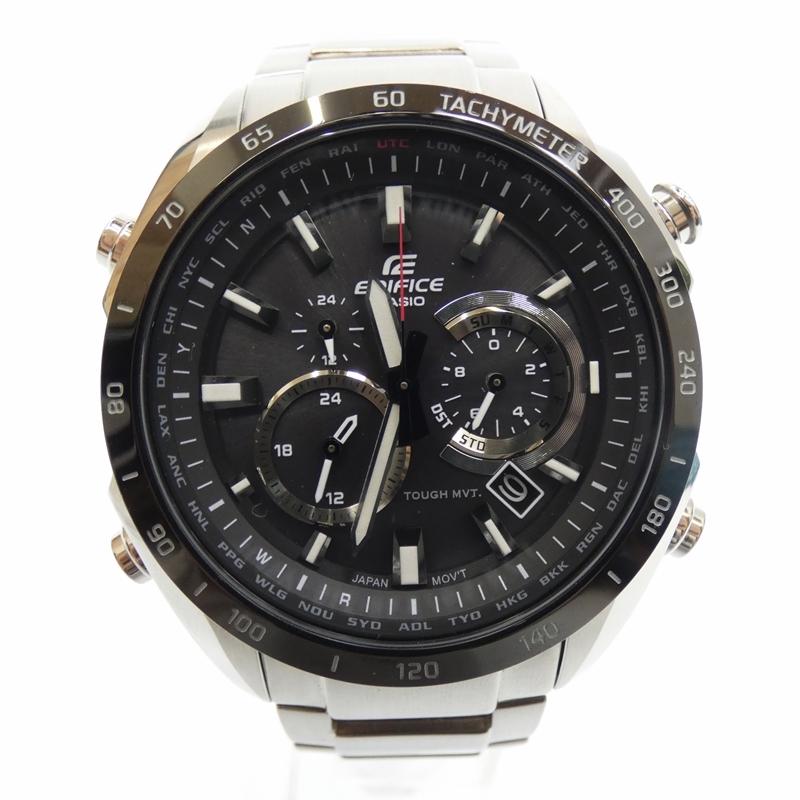 【中古】EDIFICE/エディフィス 腕時計/ソーラー/ステンレススティール/EQW-T620DB サイズ:- カラー:ブラック(文字盤)×シルバー(ベルト)【f131】