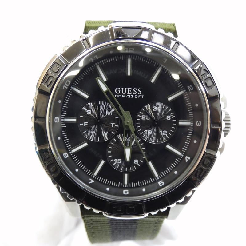 【中古】GUESS/ゲス 腕時計 クォーツ ナイロンベルト サイズ:- カラー:ブラック(文字盤)×グリーン系(ベルト)【f131】
