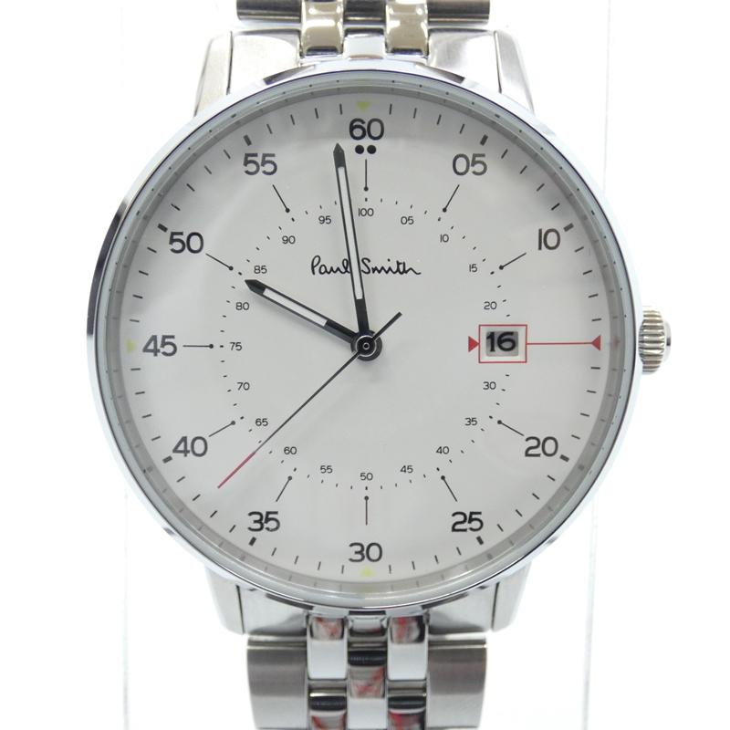 【中古】Paul Smith/ポールスミス 腕時計 Gauge クォーツ ステンレススティールベルト サイズ:- カラー:ホワイト(文字盤)×シルバー(ベルト)【f131】