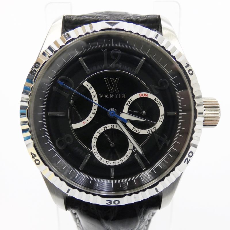 【中古】VARTIX/ヴァティックス 腕時計 WA1VN 自動巻き レザーベルト サイズ:- カラー:ブラック(文字盤)×ブラック(ベルト)【f131】