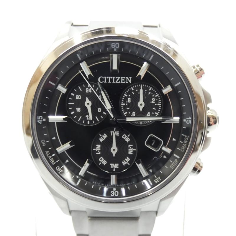 【中古】CITIZEN/シチズン 腕時計/ソーラー/ステンレススティール/アテッサ サイズ:- カラー:ブラック(文字盤)×シルバー(ベルト)【f131】