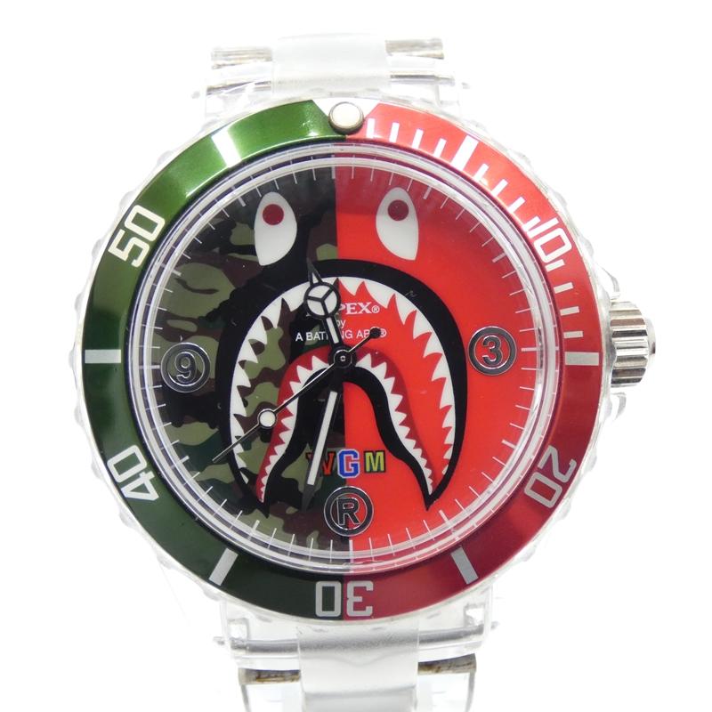 【中古】APE/エイプ 腕時計/クォーツ サイズ:- カラー:レッド×グリーン(文字盤)×クリア(ベルト)【f131】