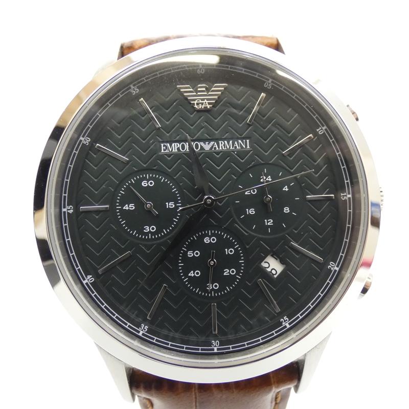 【中古】EMPORIO ARMANI/エンポリオアルマーニ 腕時計/クォーツ/レザーベルト/AR2493 サイズ:- カラー:グリーン(文字盤)×ブラウン(ベルト)【f131】
