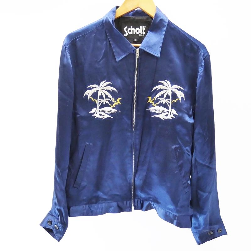 【中古】Schott/ショット スーベニア ジャケット サイズ:L カラー:ブルー / アメカジ【f093】