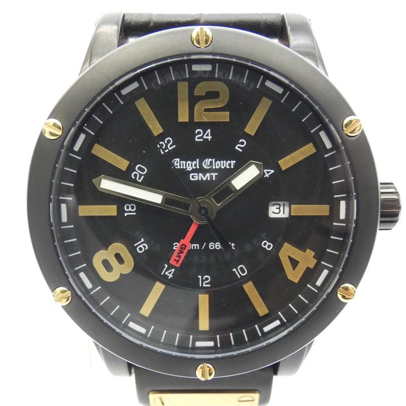 【中古】Angel Clover/エンジェルクローバー 腕時計/EVG46BBK/クォーツ/革ベルト サイズ:- カラー:ブラック(文字盤)×ブラック(ベルト)【f131】