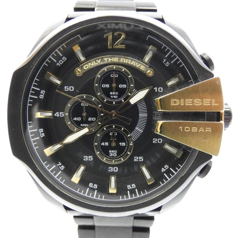 【中古】DIESEL/ディーゼル 腕時計/DZ4338/メガチーフ/クォーツ/ステンベルト サイズ:- カラー:ブラック(文字盤)×ブラック(ベルト)【f131】
