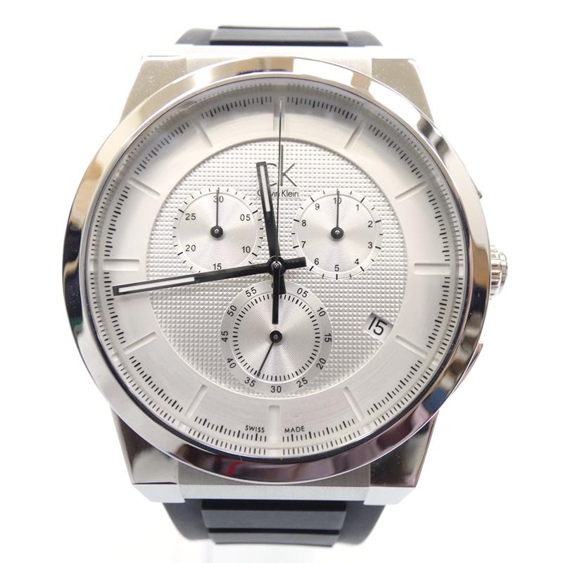 【中古】Calvin Klein/カルバンクライン 腕時計 K2S 371 クォーツ ラバーバンド サイズ:- カラー:シルバー(文字盤)×ブラック(ベルト)【f131】