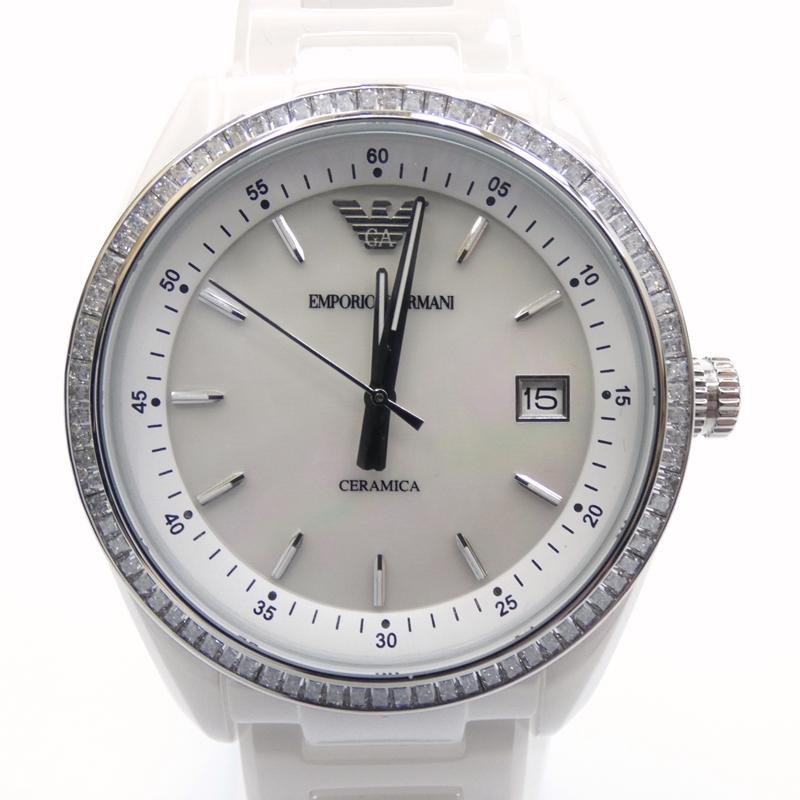 【中古】EMPORIO ARMANI/エンポリオ・アルマーニ 腕時計 AR1497 クォーツ サイズ:- カラー:ホワイト(文字盤)×ホワイト(ベルト)【f131】