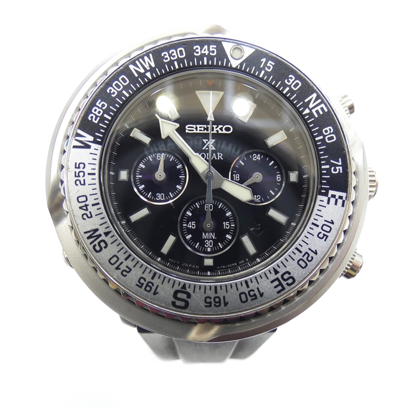 【中古】SEIKO/セイコー 腕時計 PROSPEX プロスペックス V175-0BZ0 アナログ ソーラー サイズ:- カラー:ブラック(文字盤)ブラック(ベルト)【f131】