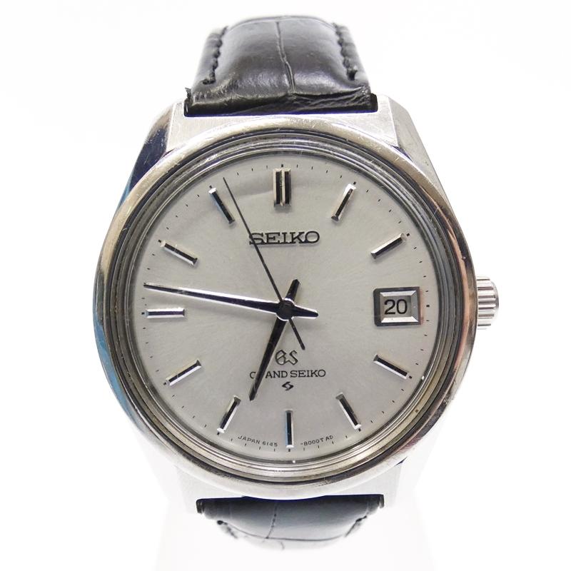 【中古】GRAND SEIKO/グランドセイコー 腕時計 6145-8000 自動巻き アナログ レザーベルト サイズ:- カラー:シルバー系(文字盤)ブラック(ベルト)【f131】