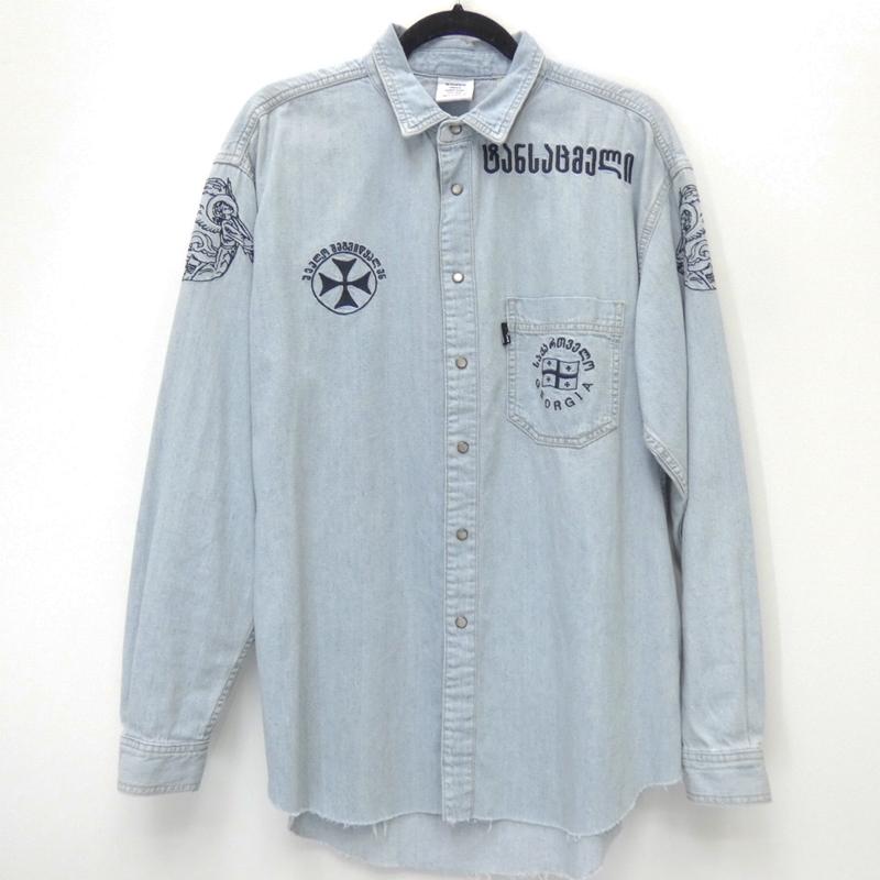 【中古】VETEMENTS×Levi's/ヴェトモン×リーバイス 2018S/S 国内正規品 Western embroidery denim shirtデニムシャツ サイズ:XS カラー:ブルー系【f108】