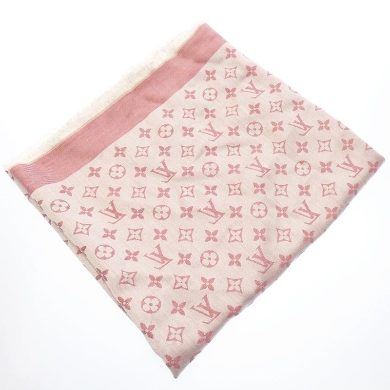 【201912ss】 【中古】LOUIS VUITTON/ルイ・ヴィトン ショールモノグラムデニム スカーフ サイズ:- カラー:ピンク【f135】
