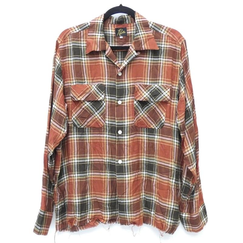 【期間限定】ポイント20倍【中古】Needles/ニードルス 2019S/S EJ159 Cut-Off Bottom Classic Shirt カットオフボトムクラシックシャツ チェックオープンカラーシャツ サイズ:M カラー:ブラウン系 / セレクト【f099】