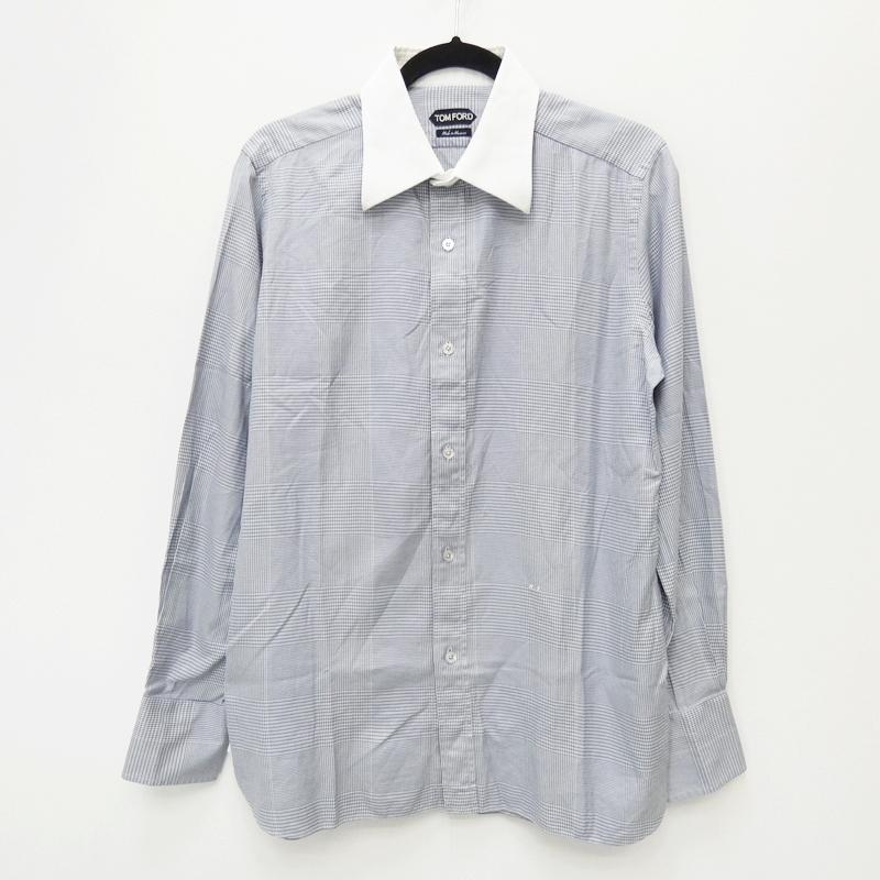 【期間限定】ポイント20倍【中古】TOM FORD/トムフォード 千鳥柄 長袖シャツ サイズ:42 カラー:ブルー×グレー【f108】