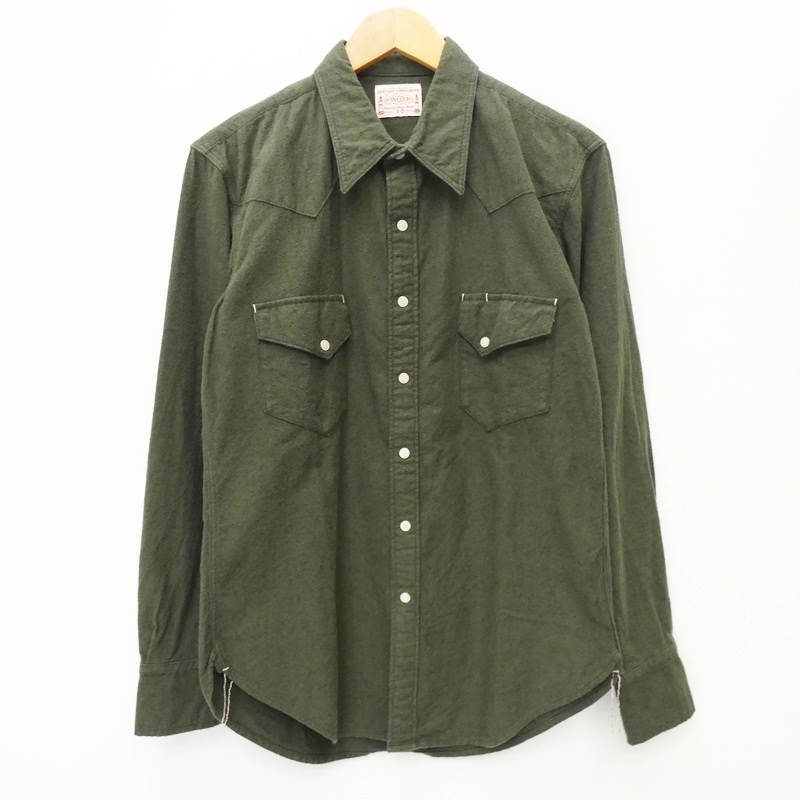 【期間限定】ポイント20倍【中古】BONCOURA/ボンクラ ネルウールシャツ サイズ:40 カラー:グリーン系 / アメカジ【f101】