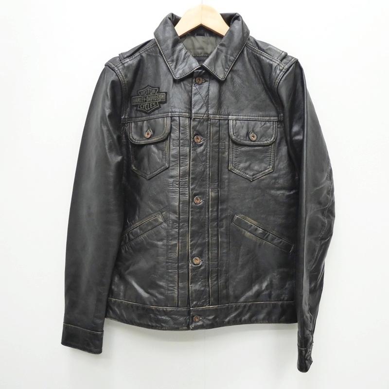 【中古】Harley Davidoson ハーレーダビッドソン 98036-19VM Digger Slim Fit Leather Jacket  レザージャケット サイズ:S カラー:ブラック / アメカジ【f093】