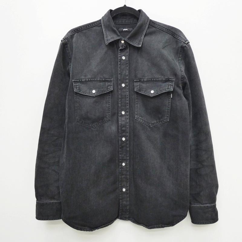 【中古】DIESEL ディーゼル バック刺繍ブラックデニムジャケット シャツジャケット サイズ:M カラー:ブラック / インポート【f094】