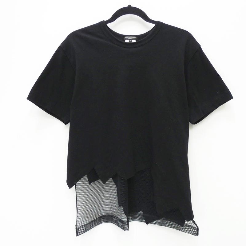 【中古】COMME des GARCONS HOMME PLUS コムデギャルソンオムプリュス PQ-T026 裁断メッシュ切り替えTEE AD2015 Tシャツ半袖 サイズ:M カラー:ブラック【f108】