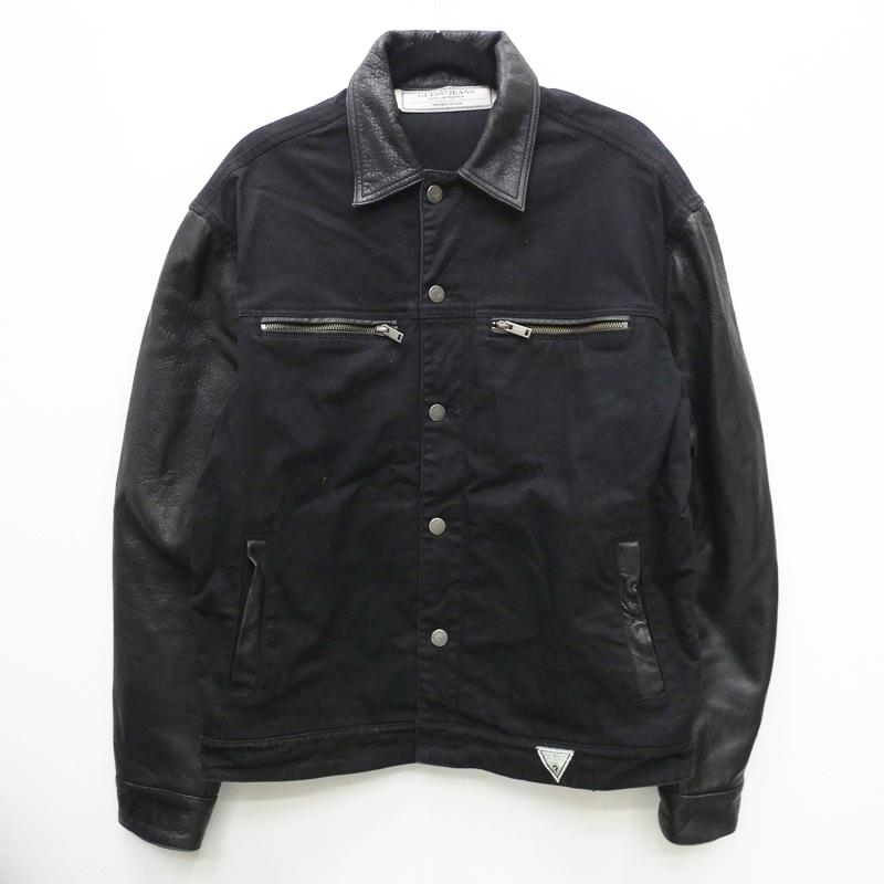 【中古】GUESS ゲス M64XQ3D1OA2 1981 LEATHER BLOCKED JACKET ジャケット サイズ:M カラー:ブラック / インポート【f094】