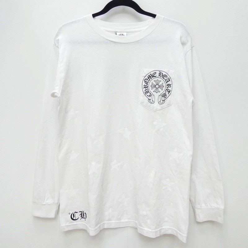 【中古】CHROME HEARTS クロムハーツ 001-085526 CH CROSS STAR PRINT L/S TEE 国内正規品 Tシャツ長袖 サイズ:M カラー:ホワイト【f108】