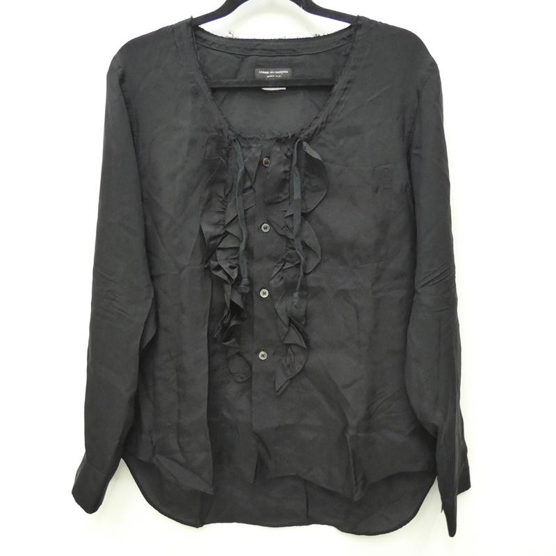 【中古】COMME des GARCONS HOMME PLUS コムデギャルソンオムプリュス PS-B032 キュプラフリル装飾ネック裁ち切りシャツ AD2016 シャツ長袖 サイズ:XS カラー:ブラック【f108】