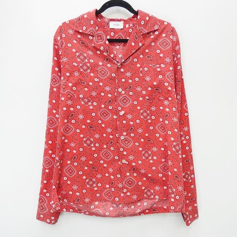 【中古】RHUDE ルード 91-231-10-012320 'L/S BANDANA SHIRT' 19AW サザビーリーグ正規品 オープンシャツ サイズ:M カラー:レッド【f108】