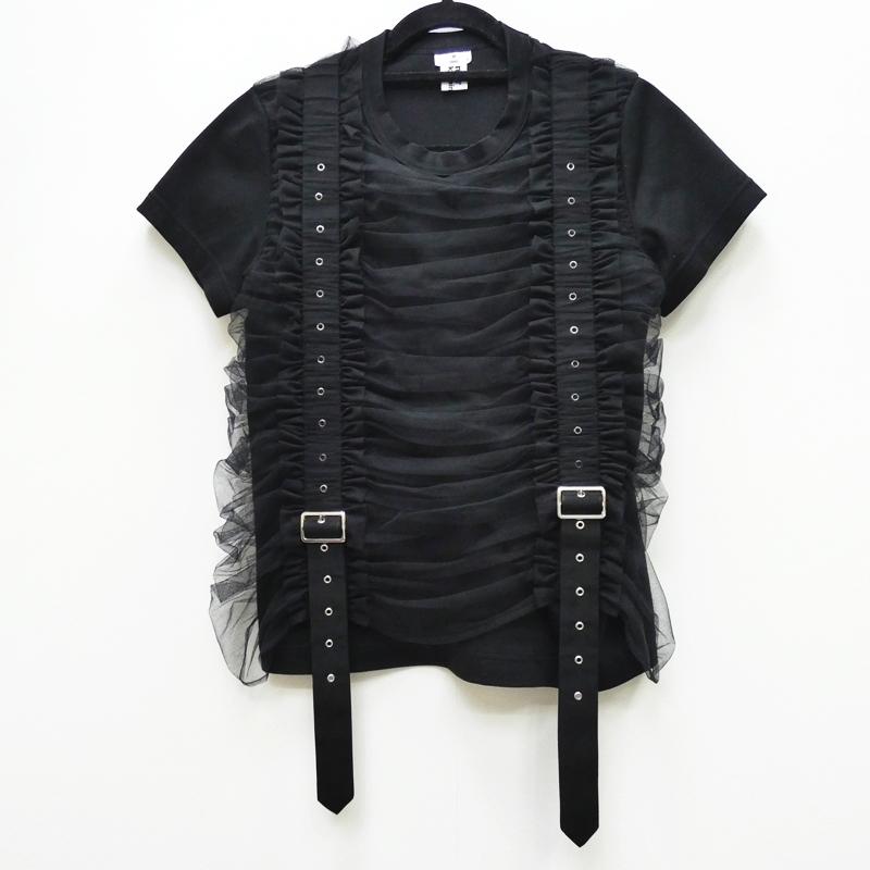 2020年秋冬新作 COMME des GARCONS コムデギャルソン noir kei ninomiya 3F-T001 AD2020 ギャザー Tシャツ カットソー サイズ:M カラー:ブラック / カジュアル【f111】, ベストHBI 039a862f