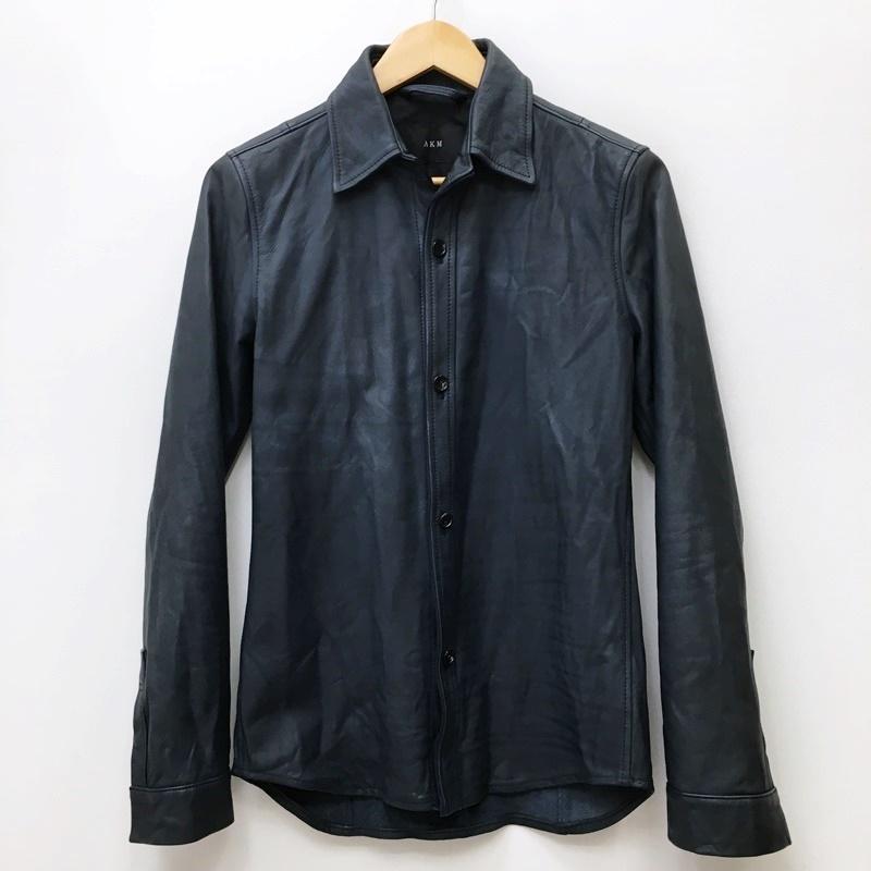 8 新作通販 12 木 15:00迄 10%OFF 期間限定SALE 中古 AKM エイケイエム ドメス サイズ:M model:wrinkle S090 レザージャケット leather 訳あり カラー:ネイビー f096 shirts