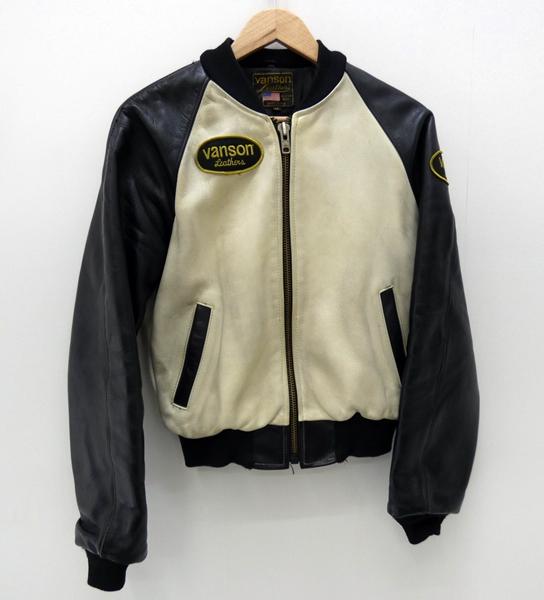 【中古】VANSON/バンソン TJVレザージャケット サイズ:3 カラー:ホワイト×ブラック / アメカジ