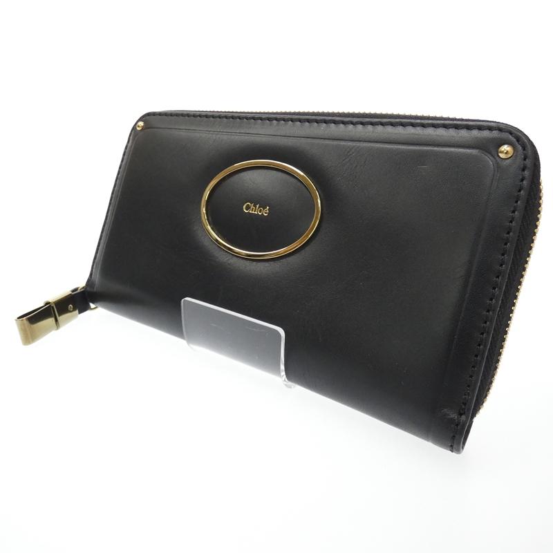 【中古】Chloe/クロエ ヴィクトリア ラウンドファスナー長財布 サイズ:- カラー:ブラック【f125】