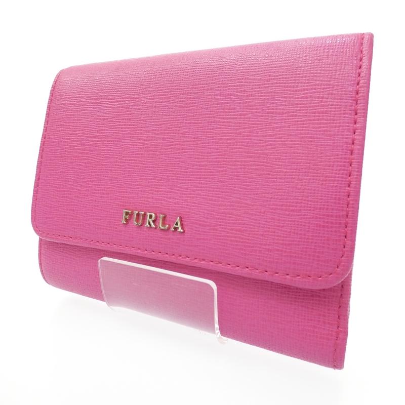 【中古】FURLA/フルラ トライフォールドウォレット 三つ折り財布 サイズ:- カラー:ピンク【f125】