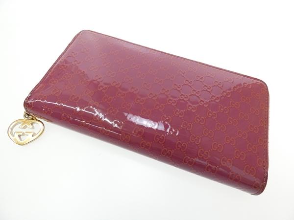 【中古】GUCCI/グッチ 308005 マイクログッチシマ ラウンドファスナー長財布