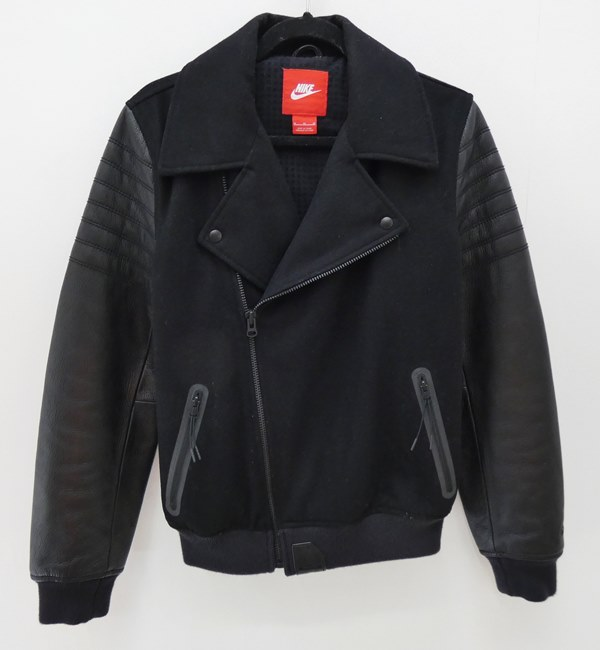 【中古】NIKE/ナイキ ×LEBRON JAMES MOTO JACKET LBJ メルトンライダースジャケット サイズ:M カラー:ブラック【f098】