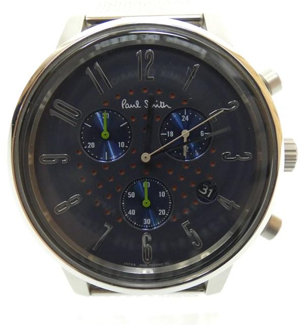 【中古】Paul Smith/ポールスミス 腕時計 クロノグラフ ネイビー×シルバー クォーツ ステンレススティールベルト【f131】