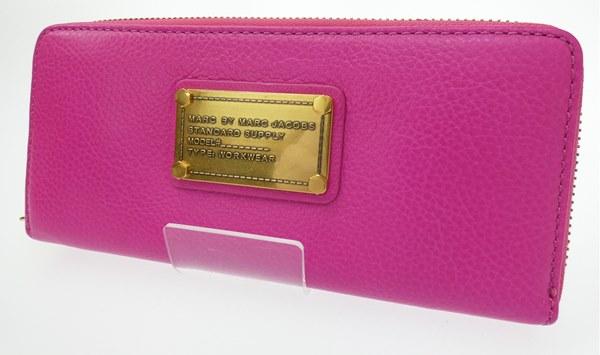 【中古】MARC BY MARC JACOBS/マークバイマークジェイコブス ラウンドファスナー長財布 カラー:ピンク【f124】