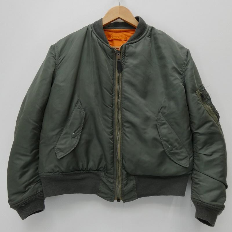 【中古】VINTAGE衣料 フライトジャケット/ALPHA社製/1971年 サイズ:M カラー:カーキ / アメカジ【f093】