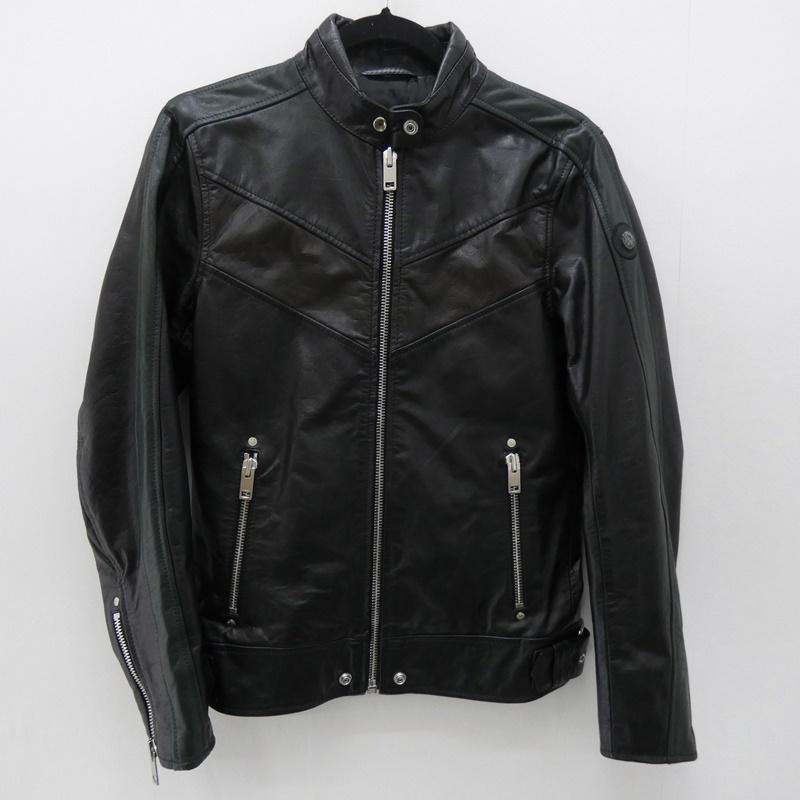 【中古】DIESEL/ディーゼル バッファローレザーシングルライダースジャケット サイズ:XS カラー:ブラック / インポート【f094】