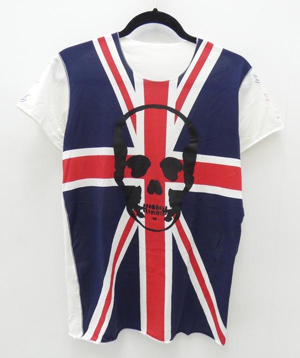 【中古】lucien pellat-finet/ルシアンペラフィネ ユニオンジャックスカルTシャツ サイズ:XS カラー:ホワイト【f108】
