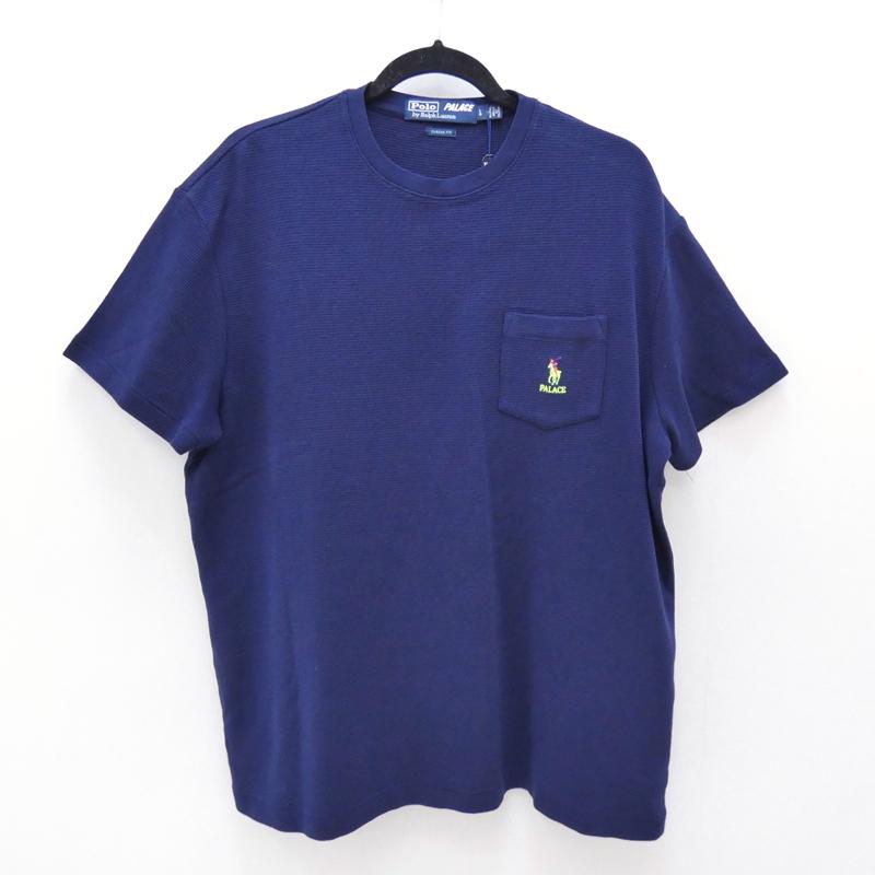 【中古】PALACE×Polo Ralph Lauren/パレス×ポロラルフローレン S/S ポケットTシャツ サイズ:L カラー:ネイビー / ストリート【f103】