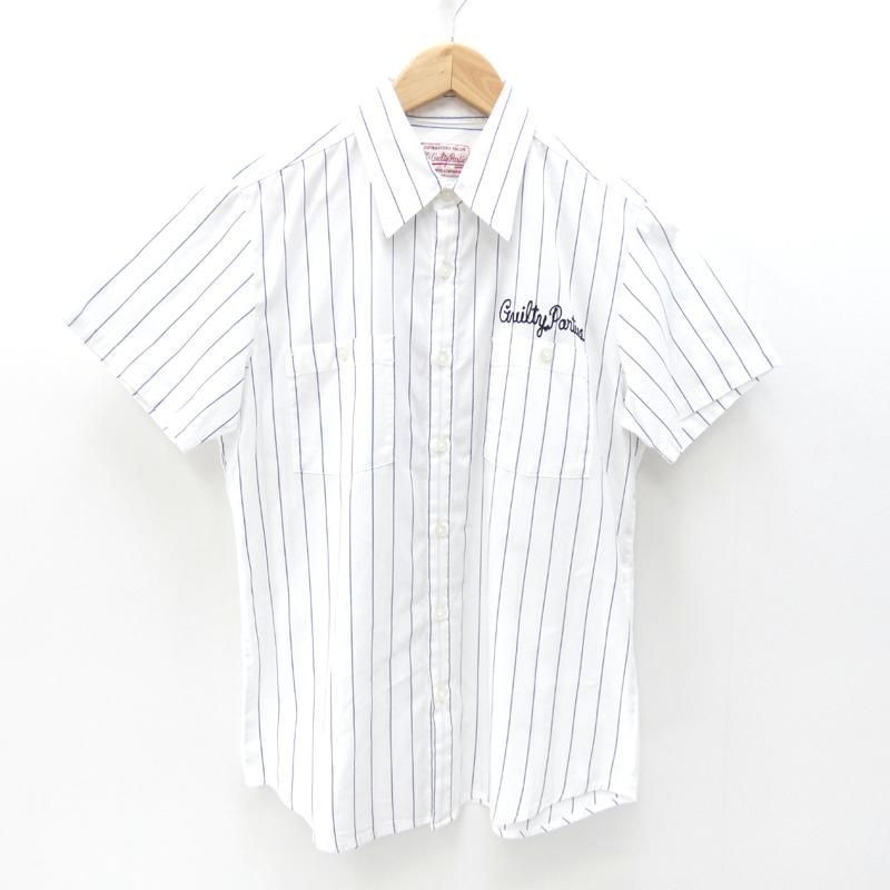 【中古】WACKO MARIA/ワコマリア S/Sストライプシャツ サイズ:S カラー:ホワイト / ルード【f104】