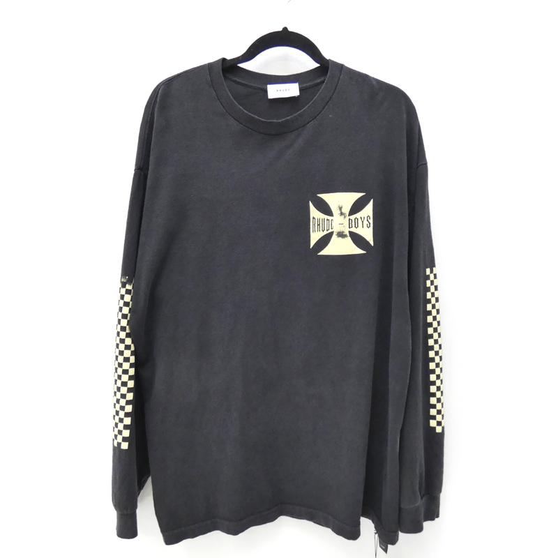 【中古】RHUDE/ルード 2018S/S RHUDE BOYS L/S TEE / BKUSED加工ロンT Tシャツ サイズ:XL カラー:ブラック【f108】