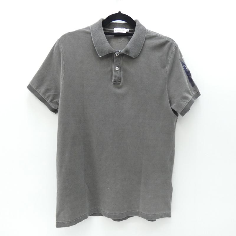 【中古】MONCLER/モンクレール 国内正規品 ペイント加工ポロシャツ サイズ:M カラー:グレー【f108】