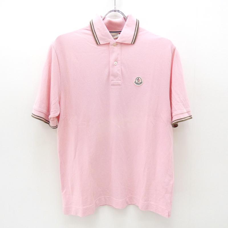 【中古】MONCLER/モンクレール 国内正規品 1Pポロシャツ サイズ:M カラー:ピンク【f108】