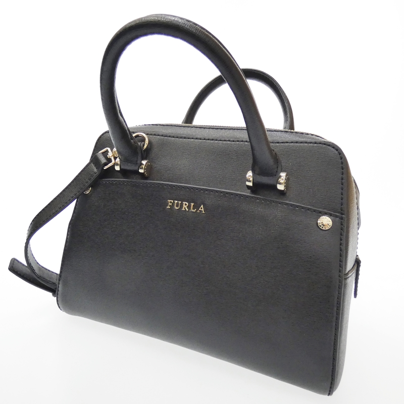 【中古】FURLA/フルラ マーガレット 2Wayハンドバッグ サイズ:- カラー:ブラック【f122】