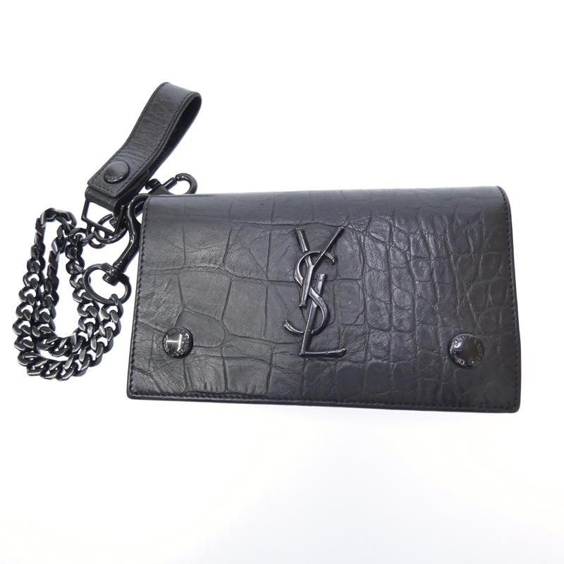 【中古】Saint Laurent/サンローラン モノグラムサンローラン チェーンウォレット 財布 サイズ:- カラー:ブラック【f125】
