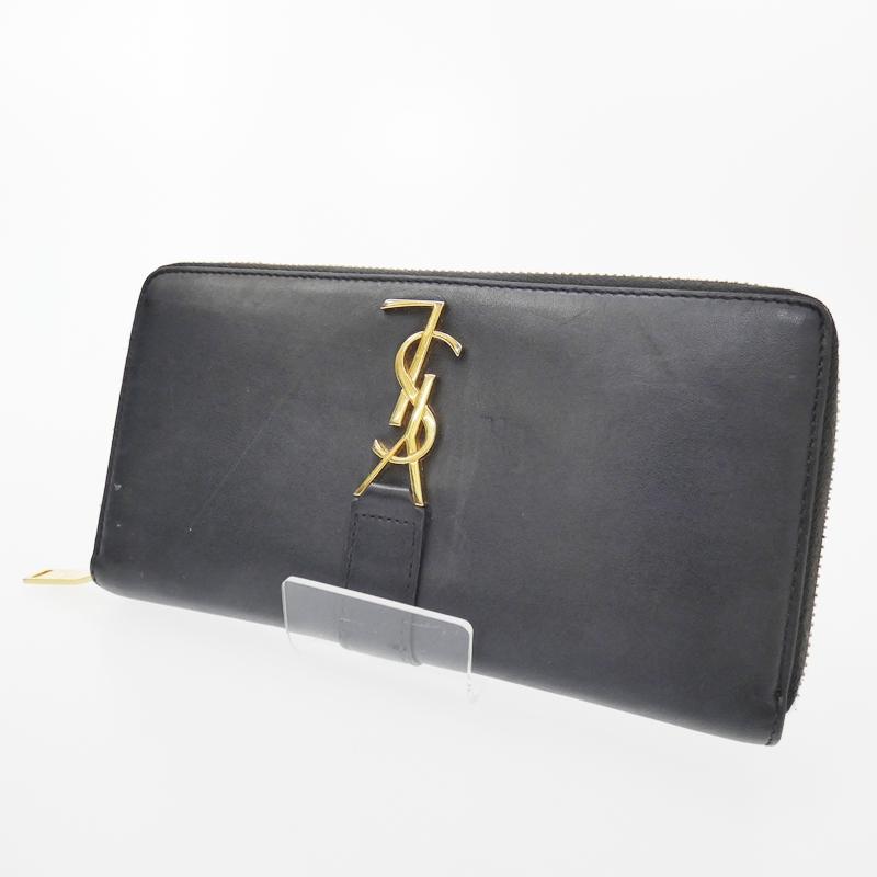 【中古】Yves Saint Laurent/イヴサンローラン ラウンドファスナー長財布 サイズ:- カラー:ブラック【f125】
