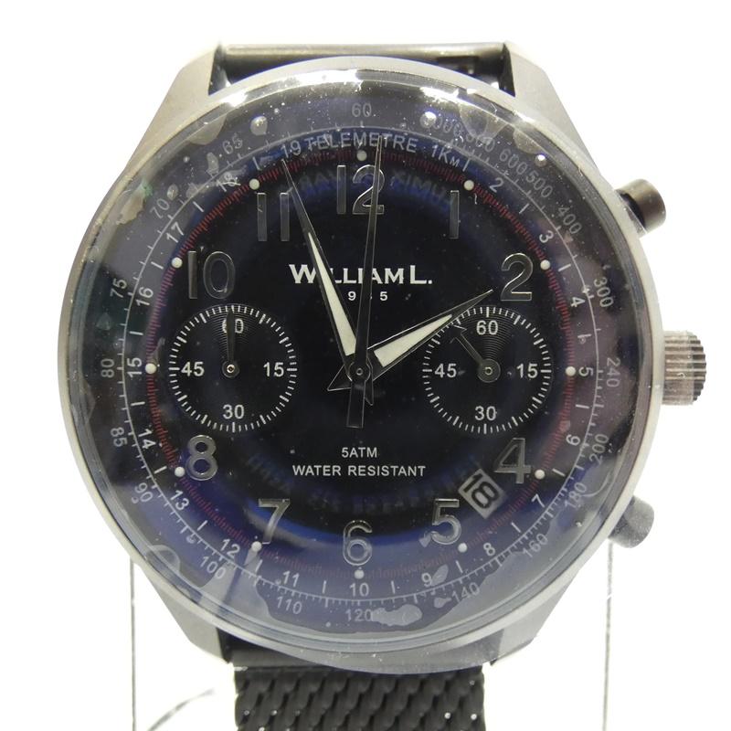 【中古】WILLIAM L/ウィリアム エル 腕時計 クォーツ サイズ:- カラー:ネイビー(文字盤)×ブラック(ベルト)【f131】