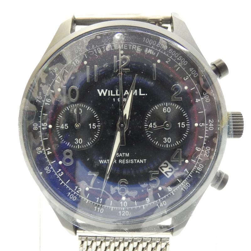 【中古】WILLIAM L/ウィリアム エル 腕時計 クォーツ ステンレススティールベルト サイズ:- カラー:ネイビー(文字盤)×シルバー(ベルト)【f131】