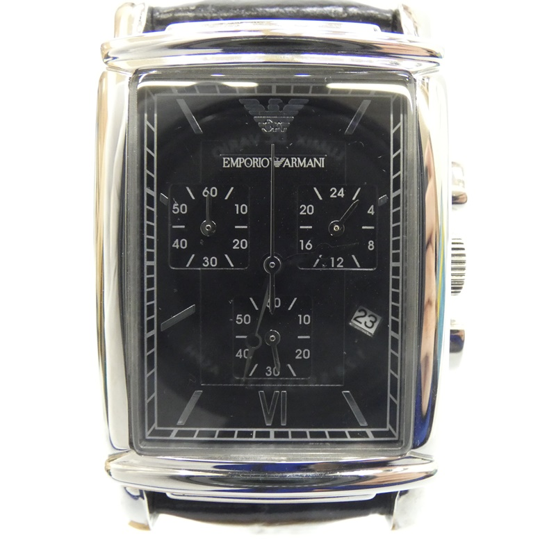 【中古】EMPORIO ARMANI/エンポリオ・アルマーニ 腕時計 AR0292 クォーツ レザーベルト サイズ:- カラー:ブラック(文字盤)×ブラック(ベルト)【f131】